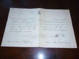 AA4-16 Invitation Mariage Familles Ruyffelaere Ivens Vandenbossche Renaix Ronse 1947 - Mariage