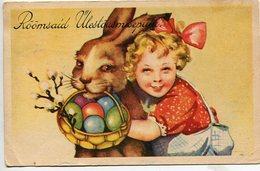 NIÑA CON CONEJO DE PASCUAS LITTLE GIRL WITH RABBIT ENFANT CHILD CIRCA 1900S POSTAL CARD CIRCULATED -LILHU - Kindertekeningen