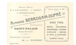 """Alphonse BERROGAIN-DUPRE """"Successeur"""" à Saint-Palais (Basses Pyrénées) Vins Fins Des Années 1970? - Cartes De Visite"""