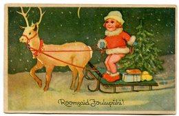 NIÑA CON TRINEO NAVIDAD GIRL WITH SLEDGE CHRISTMAS ENFANT CHILD CIRCA 1900S POSTAL CARD CIRCULATED -LILHU - Kindertekeningen