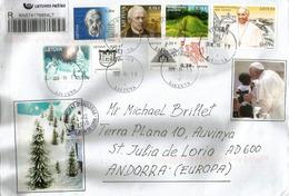 Voyage Apostolique Du Pape François En Lituanie, Septembre 2018, Sur Lettre Recommandée De Vilnius,adressée Andorra - Christianisme