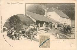 CPA L'Industrie Du Bois Dans Les Hautes Vosges - Une Scierie Attelage Boeufs Ouvriers Munier Bazar Des Vosges LA BRESSE - Industry
