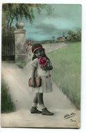 NIÑA CON FLOR ROSA LITTLE GIRL WITH FLOWER ROSE CHILD ENFANT CIRCA 1900S POSTAL CARD -LILHU - Taferelen En Landschappen
