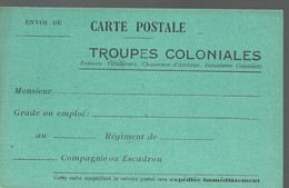 CARTE FRANCHISE MILITAIRE - 14/18 - TROUPES COLONIALES - NON ECRITE - TTBE - Marcophilie (Lettres)