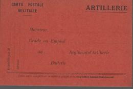 CARTE FRANCHISE MILITAIRE - 14/18 - ARTILLERIE (2) - NON ECRITE - TTBE - Marcophilie (Lettres)