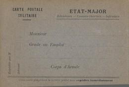 CARTE FRANCHISE MILITAIRE - 14/18 - ETAT MAJOR (2) - NON ECRITE - TTBE - Marcophilie (Lettres)