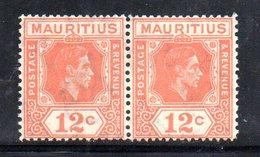 PB89 - MAURITIUS , Giorgio VI 1938 : Yvert Coppia Del N. 206a (Gibbons N. 257a) Dent 15x14  ***  Splendida - Mauritius (1968-...)