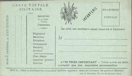 CARTE FRANCHISE MILITAIRE - 14/18 - INFANTERIE - NON ECRITE - TTBE - Marcophilie (Lettres)
