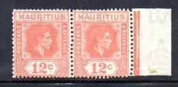 PB89A - MAURITIUS , Giorgio VI 1938 : Yvert Coppia Del N. 206a (Gibbons N. 257a) Dent 15x14  ***  Splendida - Mauritius (1968-...)