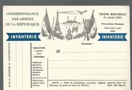 CARTE FRANCHISE MILITAIRE - 14/18 - INFANTERIE -  ILLUSTREE - NON ECRITE - TTBE - Marcophilie (Lettres)