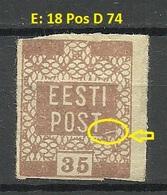ESTLAND Estonia 1919 Michel 3 E: 18 ERROR Abart Variety * - Estonie