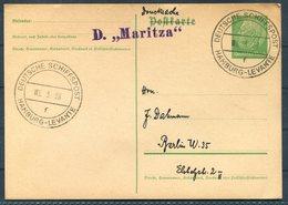 1938 Germany Deutsche Seepost Schiffspost Hamburg Levant MARITZA Ship Stationery Postcard - Deutschland