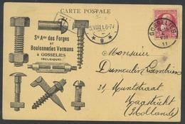 N°74 - GOSSELIES T2R Op Reclamekaart Van Ste Ame Des Forges Et Boulonneries VORMANS  Zeer Mooi - 1905 Grosse Barbe