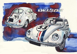 @@@ MAGNET - Vw Beetle Herbie - Publicitaires