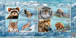 Kyrgyzstan 2018  MS MNH Red Book Marbled Polecat Pallas's Cat Turkestan Lynx Himalayan Brown Bear - Big Cats (cats Of Prey)