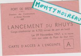 Vieux  Papier :   ; Brest , Finistère : Le  Port , Lancement  Du  Rhuys , Bateau  Cargo  1947 - Mariage