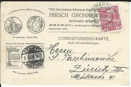 Österreich Mi 144v Krakau 30.11.10 Nach Zürich - 1850-1918 Keizerrijk