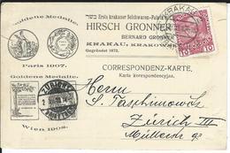 Österreich Mi 144v Krakau 30.11.10 Nach Zürich - Briefe U. Dokumente