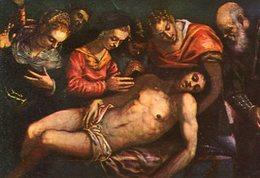 EL ENTIERRO DE CRISTO CHRIST'S BURIAL TINTORETTO S. XVI CIRCA 1940 POSTAL CARD TAMAÑO PEQUEÑO -LILHU - Jezus