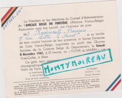 Vieux  Papier :   ; Brest , Finistère :amicale Franco - Belge , Le  Bal 1947 , Landerneau , Portsall , Entrée  400 F - Mariage