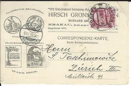 Österreich Mi 144v Krakau 6.12.10 Nach Zürich - 1850-1918 Keizerrijk