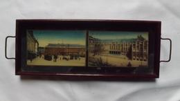 Très Ancien  PLATEAU Avec Deux Cartes Postales De Liège Sous Verre - .    (très Rare) - Verre & Cristal