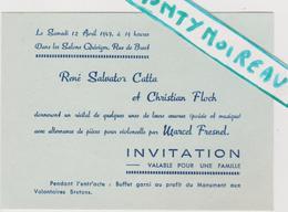 Vieux  Papier :   ; Brest , Finistère : Invitation Musique  Bal 1947 Violon Marcel  Fresnel  , Catta  Floch - Mariage