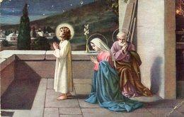 NIÑO JESUS REZANDO CON MARIA Y JOSE JESUS CHILD PRAY WITH MARY AND JOSEPH CIRCA 1920 POSTAL CARD -LILHU - Jezus
