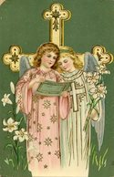 DOS ANGELES CON LIRIOS TWO ANGELS WITH LILIES CIRCA 1920 POSTAL CARD -LILHU - Engelen