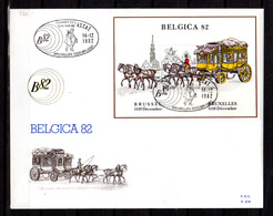 1982   Belgique, FDC 676, Belgica'82, 3 Cachets Différent Du BF 59, Cote 27 €, - FDC