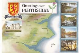 Postcard Map Of Perthshire Scotland My Ref  B23226 - Maps