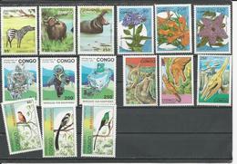 CONGO Scott 1010,12,13 1017,19,20 1022,24,25 1038,40,41 1044,46,47 Hautes Valeurs  (15) ** Cote Approx 50,00 $ 1993 - Congo - Brazzaville