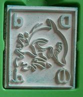Tampon Bois, Animal, Dauphin, Lettre Alphabet D - Delphin - 4,5 Cm X 5 épaisseur 1,7 Cm - Loisirs Créatifs