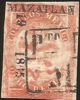 J) 1865 MEXICO,IV PERIOD, IMPERIAL EAGLE, 8 REALES RED, BLACK BOX, MAXATLAN, XF - Mexico