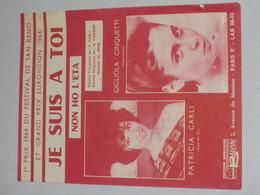 Festival San Remo - Eurovision 1964 - Je Suis A Toi - Patricia Carli - Gigliola Cinquetti - Partitions Musicales Anciennes