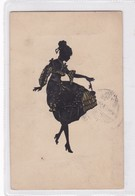 JEUNE FEMME TENANT UNE FLEURE. SILOHUETTE SOMBRA. BARTAJOS. CIRCULEE 1929 BUENOS AIRES A PIRIAPOLIS, URUGUAY- BLEUP - Silhouetkaarten