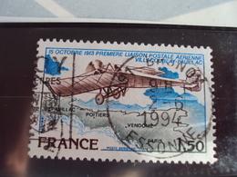 """1960...-POSTE AERIENNE, Oblit, Timbre N°  51    """" Villacoublay-pauillac """"cote   0.65  Net  0.20 - Poste Aérienne"""