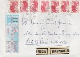LSC Recommandé 1989 -  Cachets  PARIS BEAUX ARTS  R.des Saints Pères - Vignette LSA  + Timbres Sabine - Handstempel