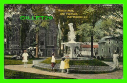 PLATTSBURGH, NY - TRINITY PARK AND FOUNTAIN - ANIMATED WITH KIDS IN CLOSE UP - TRAVEL IN 1914 - VALENTINE-SOUVENIR - - Other