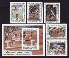 Mauritania, 1984 Summer Olympics, 5 Stamps + Block Imperforated - Summer 1984: Los Angeles