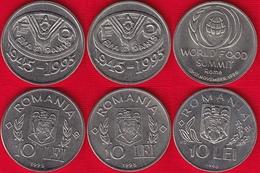 """Romania Set Of 3 Coins: 10 Lei 1995-1996 """"FAO"""" UNC - Roumanie"""