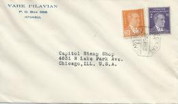 Turchia Turkey 1933 Cover From Istanbul To Chicago , U.S.A - 1921-... Republic