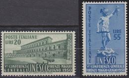 Italia : 5a  Conferenza Generale Dell'U.N.E.S.C.O.  2 Valori   MNH**  Del  22.05.1950 - 6. 1946-.. Repubblica