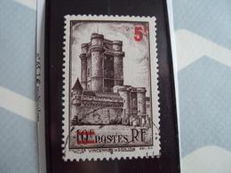 """1900-1945-timbre Oblitéré N° 491    """"  Donjon Vincennes Surchargé 5F    """"     Cote     2.30    Net    0.75 - France"""
