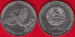 """Transnistria 1 Rouble 2018 """"Red Book - African Death's Head Hawkmoth"""" UNC - Moldavie"""