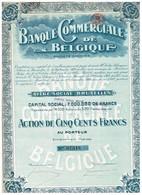 Ancienne Action - Banque Commerciale De Belgique Société Anonyme - Titre De 1919 - N° 07348 - Banque & Assurance
