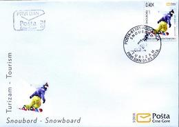2018 FDC, Tourism, Snowboarding, Montenegro, MNH - Montenegro