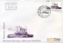 2018 FDC, Ships, Battle Cruiser Sankt Georg, Montenegro, MNH - Montenegro