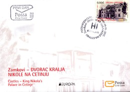 2017 FDC, EUROPA STAMPS, Palaces And Castles, Dvorac Kralja Nikole Na Cetinju, Montenegro, MNH - Montenegro