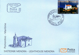 2017 FDC, Lighthouses, Mendra, Valdanos, Ulcinj, Montenegro, MNH - Montenegro